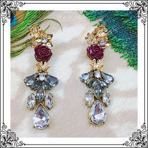 Rose Dangle Stud Earrings